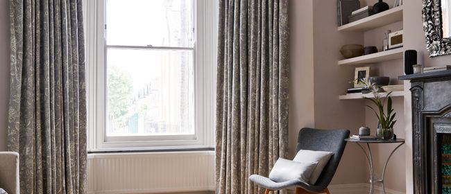 Living Room with Oralia Dove Grey Curtains