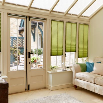 Conservatory with Green Bali Moss Pleated Blinds