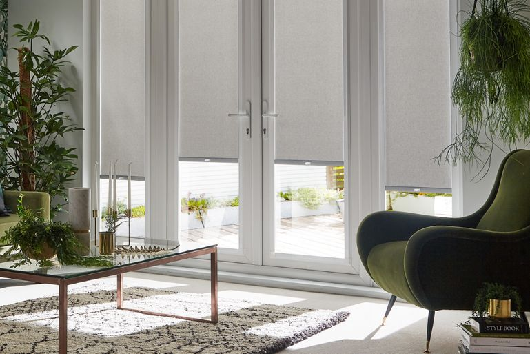 lounge with silver acacia perfect fit roller blinds