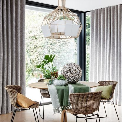 Dining room with Echo Zinc curtains