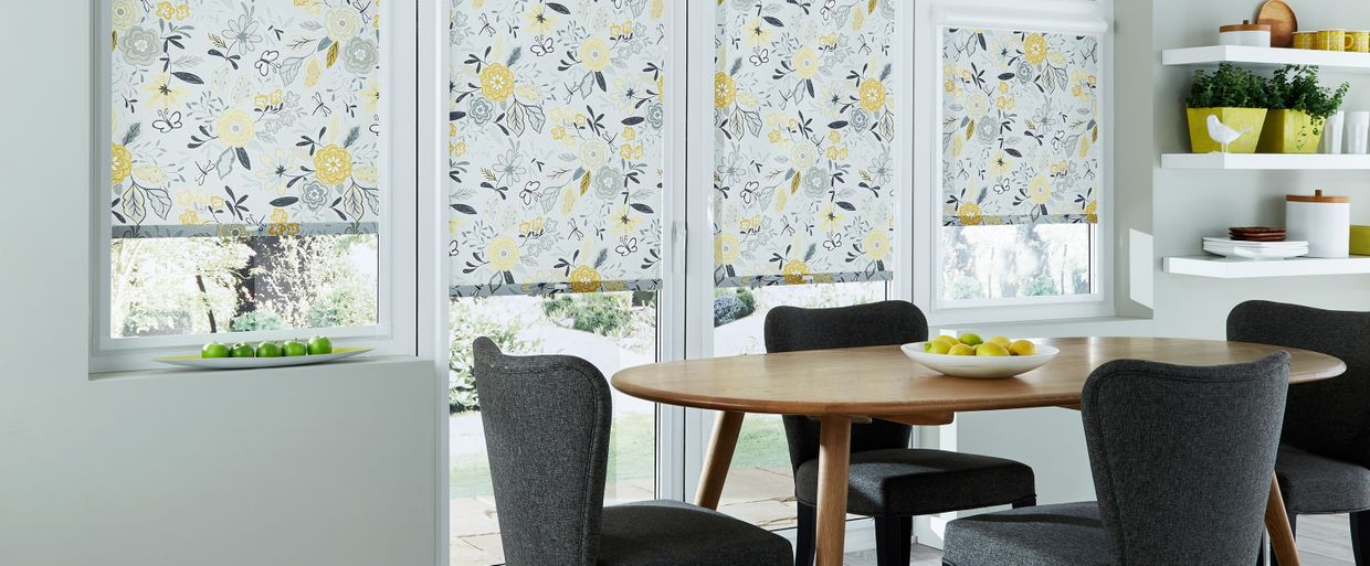 Betsy Mustard Perfect Fit blind in dining room