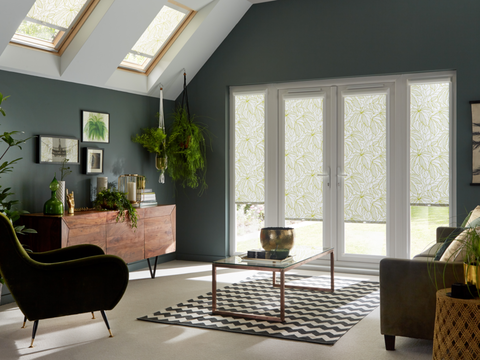 Greenery Tropical PerfectFit blinds in a living room