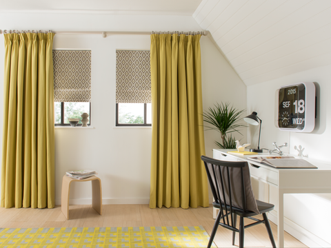 Tetbury Mustard curtains in bedroom