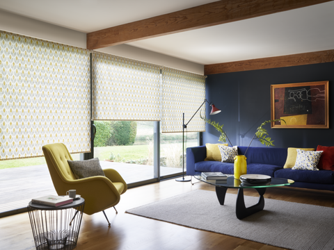 Petula Ochre roller blinds in living room