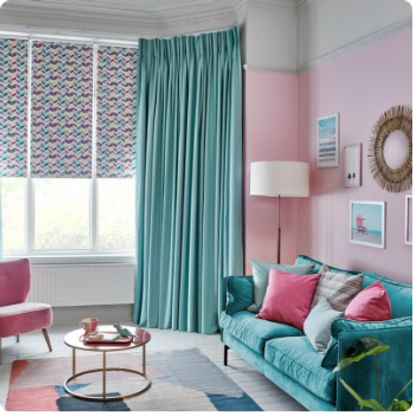 Harlow Turquoise curtain in living room