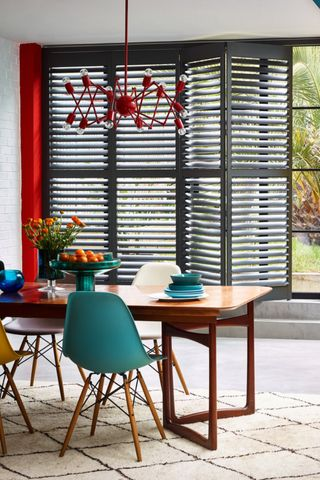 Clay tracked shutters in kitchen