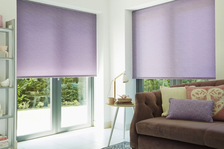 Ravenna Amethyst Roller blind in living room