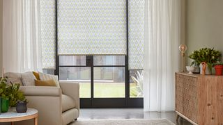 Crystal Ecru Voile curtains and Petula Olive curtains in living room