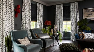 Living room with Abigail Ahern collection curtains and Roman blinds