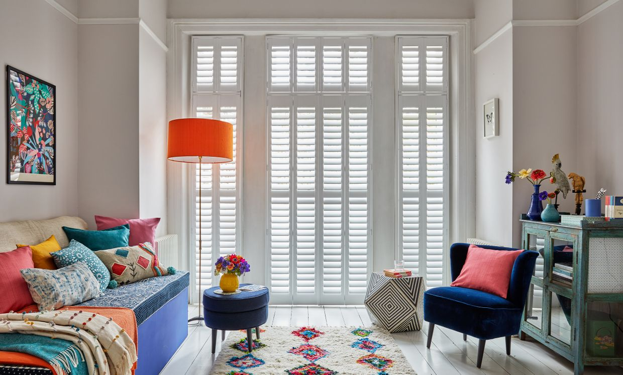 Pure White shutters in living room