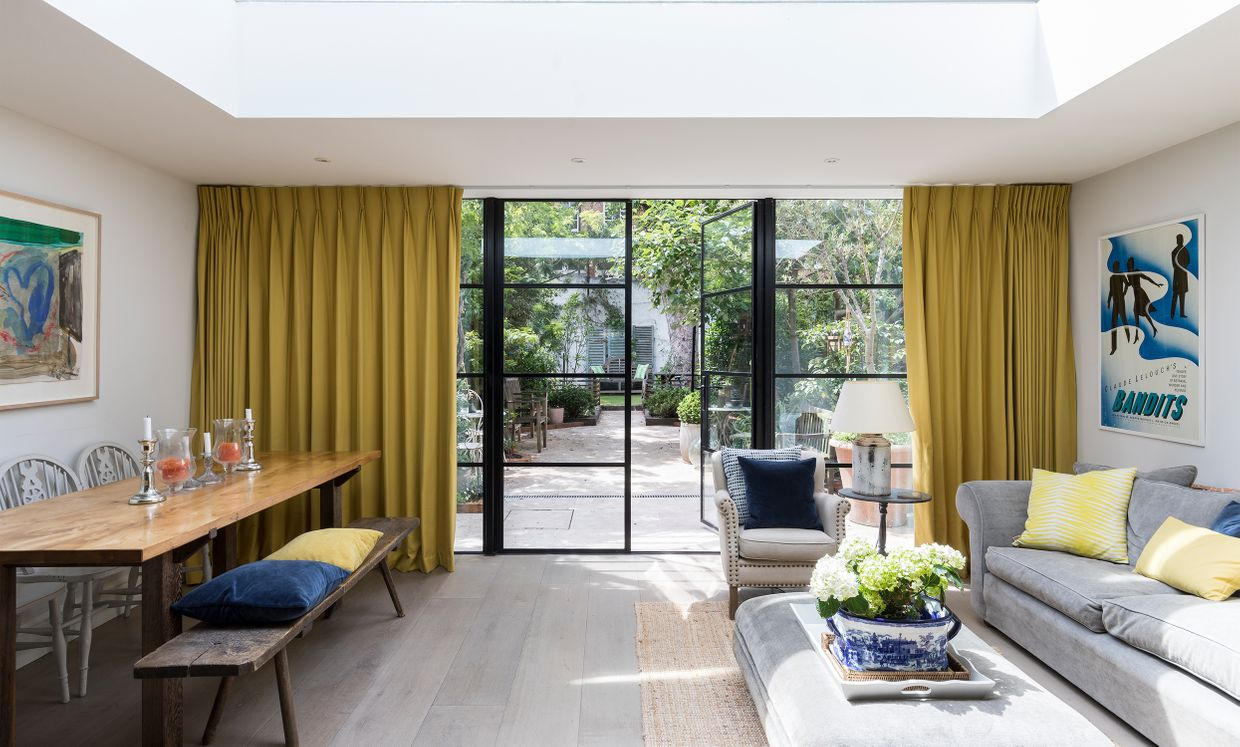 Tetbury Mustard curtains in living room