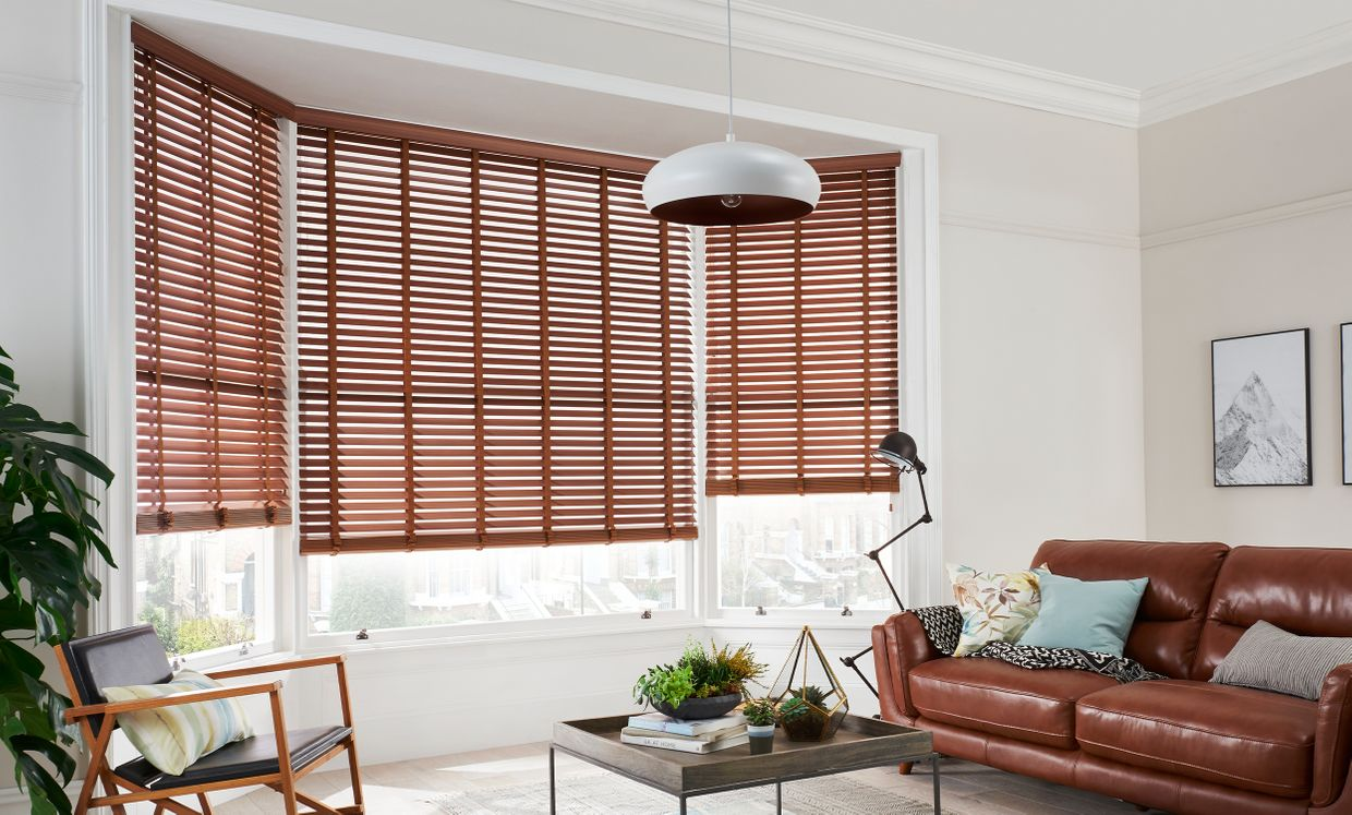 Nutmeg Faux Wood blinds in living room