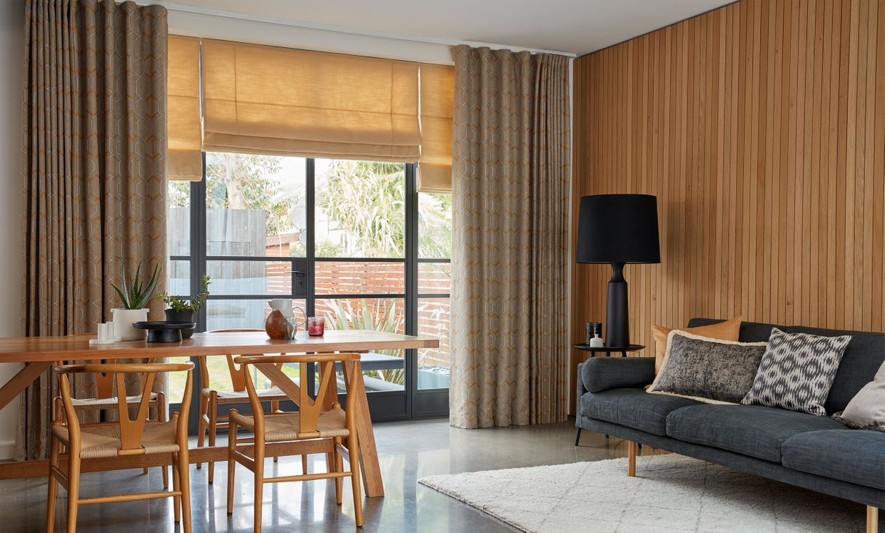 Verve Golden Wheat curtain and Lindora Gold Roman blind in living room