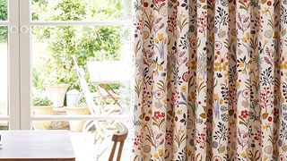 Ester Cranberry Floral Patterned Curtains in Dining Room