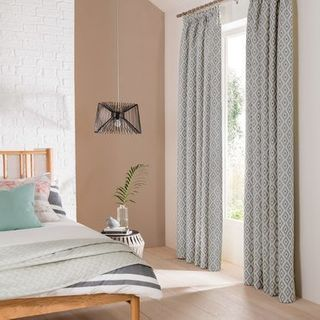 Laverne Graphite Curtains in light airy bedroom