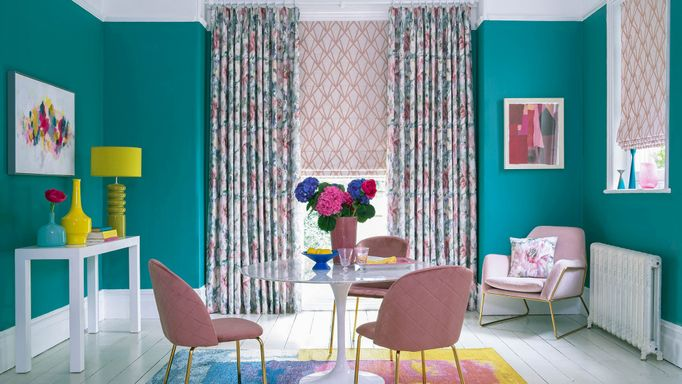 Saskia Fuchsia curtains and Dimension Rose Quartz romans in dining room