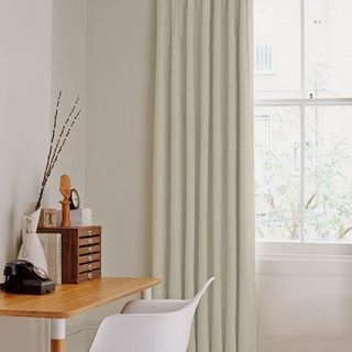 Mineral Chalk Curtains in home office with desk and chair in front