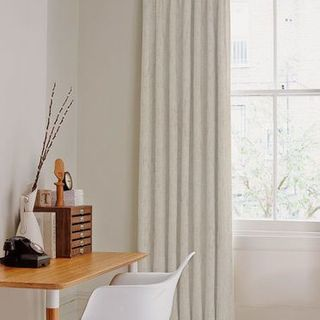 Mineral Linen Curtain in light home office with desk and chair