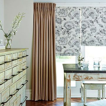Curtains_Opulence Latte and Portia Stone Roman Blind_Dining Room