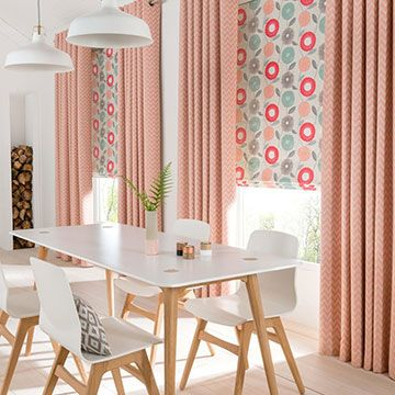 Orange Made to Measure Eyelet Curtains Combined with a Coral Patterned Roman Blind in the Dining Room - Horizon Salmon Eyelet Curtains and Freyja Coral Roman Blind