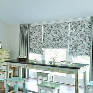 Roman Blind_Portia Stone and Opulence Dove Grey Curtains_Dining Room