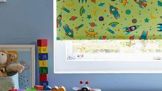 Roller Blind_To The Moon Bright Green_Childrens Room