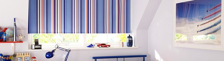 Blue-Striped-Blackout-Roller-blind-Bedroom-Circus-Royal