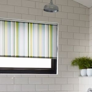 Green Striped Lexi Luscious Bathroom Roller Blind