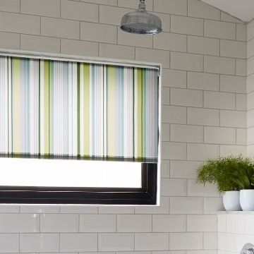 Green Striped Bathroom Roller-Blind-Lexi-Luscious