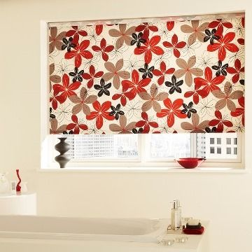 Red Floral Bathroom Roller Blind_Tahiti Chilli