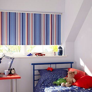 Blue Striped Bedroom Made to Measure Roller blind in Circus Royal hung in child's bedroom