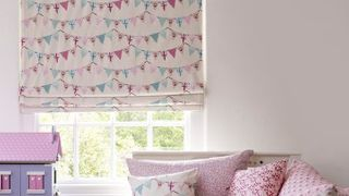 Pink Roman Blind - Kids Bedroom - Bunting Chintz
