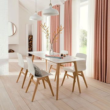 Horizon Salmon made to measure curtains in an open plan dining room window