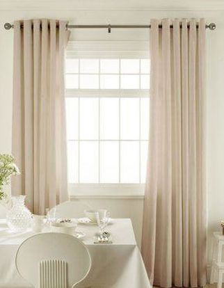 Abacus Cream Curtains in dining room with white furniture