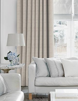 Arlington Shingle Curtains in living room with light grey sofa