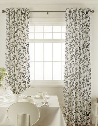 Aurella Ash Curtains in dining room with white furniture