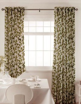 Aurella Olive Curtains in dining room with white furniture
