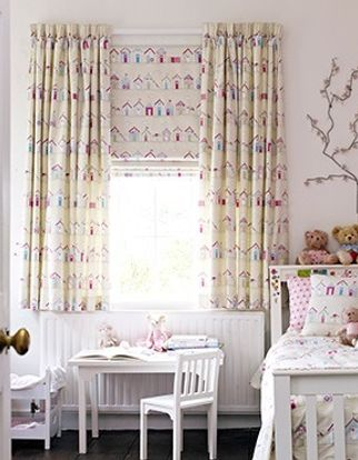 Beach Huts Pink Curtains paired with matching roman blinds in children's bedroom