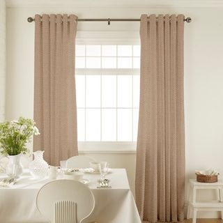 Harlow Taupe Curtains in dining room with white furniture