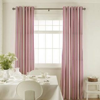 City Berry Curtains in dining room with white furniture