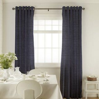 Clarence Denim Curtains in dining room with white furniture