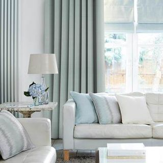 Clarence Sky Blue Curtains in dining room with white furniture
