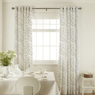 Isra Dove Grey Curtains in dining room with white furniture