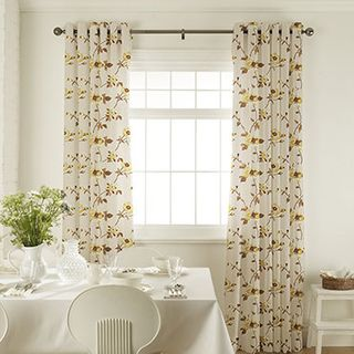 Lambay Gold Curtains in dining room with white furniture