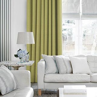 Lyon Apple Curtains in living room with light grey sofa