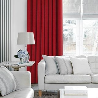 Lyon Red Curtains in living room with light grey sofa