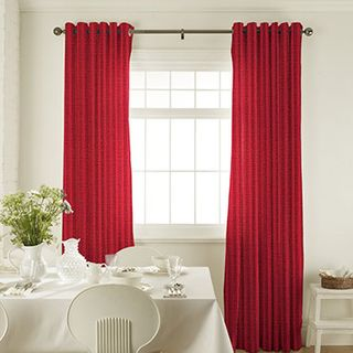 Preston Red Curtains in dining room with white furniture