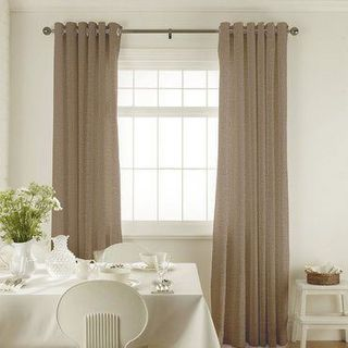 Roche Pewter Curtains in dining room with white furniture