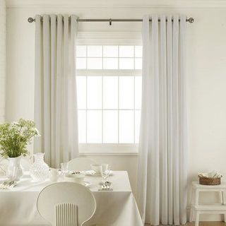 Tetbury White Curtains in dining room with white furniture