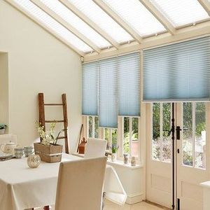 Aqua Pleated side blinds and Grenoble Cream Pleated roof blinds